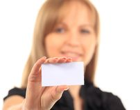 Girl in a business card - isolated over a white background Stock Photos