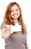 Girl in a business card - isolated over a white background Stock Images
