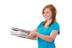 Girl with business mail Stock Images