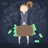 Girl in a business suit with a briefcase full of documents currency Stock Photo