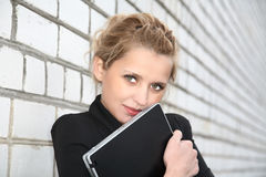 Girl in  business suit and with the laptop Royalty Free Stock Photography