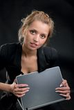 Girl in a business suit with the laptop Royalty Free Stock Image