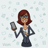 Girl in business suit showing a smartphone screen. Royalty Free Stock Images