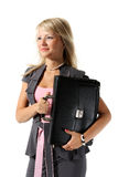 Girl, a businesswoman with a briefcase. Young beautiful girl, a businesswoman with a briefcase on the white background stock photos