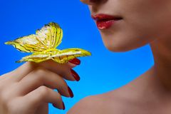 Girl with buterfly Royalty Free Stock Images
