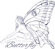 Girl with buterfly wings Stock Image