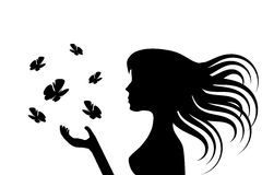 Girl and butterflies Stock Images