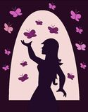 Girl with Butterflies Royalty Free Stock Images