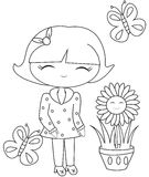 Girl with butterflies and a flower pot coloring page Stock Photography