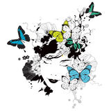 Girl with butterflies and flowers Royalty Free Stock Photo