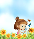 Girl and butterflies Stock Photo