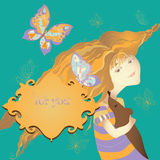 Girl with butterflies vector illustration