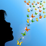 Girl and butterflies in sky Royalty Free Stock Photography