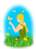 Girl with Butterflies Stock Photography