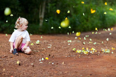Girl and butterfly. Girl with Butterflies near by royalty free stock photos