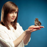Girl with butterfly Royalty Free Stock Photo