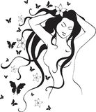 Girl and butterfly  Stock Images
