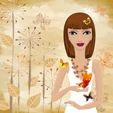 Girl with a butterfly Royalty Free Stock Images