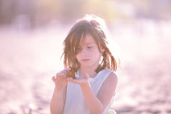 Girl with Butterfly. Little girl looking at butterfly Stock Photography