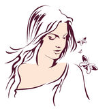 Girl with butterfly. Beauty woman among flying butterfly stock illustration