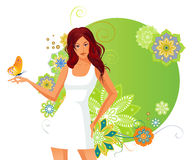 Girl and butterfly. Stock Photography