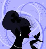 Girl and butterfly. Abstract black silhouette of girl and butterfly stock illustration