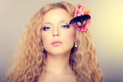 Girl with butterfly Royalty Free Stock Image