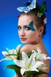 Girl with butterfly bodyart Royalty Free Stock Photo