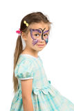 Girl With Butterfly Face Painting royalty free stock image
