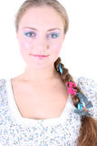 Girl with butterfly in hair Stock Photos