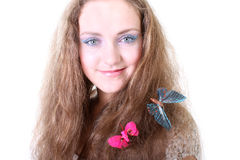 Girl with butterfly in hair Stock Photo