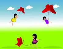 Girl with butterfly kite Royalty Free Stock Photos