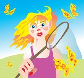 Girl with butterfly net. Illustration of red-haired girl with butterfly net Royalty Free Stock Photography