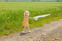 Girl with butterfly net having fun Stock Images