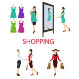 Girl buys a dress in the store. Set of vector illustrations of shopping, sale Stock Photography