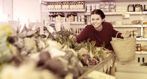 Girl buys a variety of vegetables Royalty Free Stock Photo