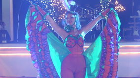 Girl in cabaret costume dance cancan stock footage