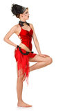 Girl in a cabaret style on a white Royalty Free Stock Images