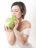 Girl with cabbage Stock Image