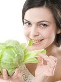 Girl with cabbage Royalty Free Stock Photography