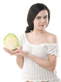 Girl with cabbage Royalty Free Stock Image