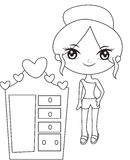Girl with a cabinet coloring page Stock Photos