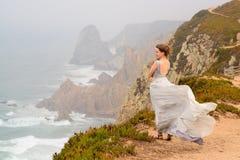 Girl in cabo da roca Royalty Free Stock Photo