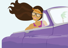 Girl in cabriolet car Stock Images
