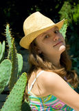 Girl and cactus Royalty Free Stock Photography
