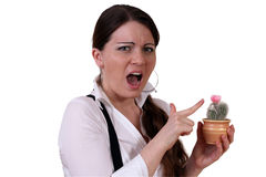 Girl with Cactus Royalty Free Stock Photography