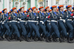 Girl cadets of Academy of the Ministry of emergency situations in the ranks on parade rehearsal in honor of Victory Day. St. Peter Stock Image