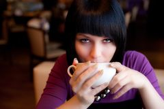 Girl in cafe Royalty Free Stock Photo