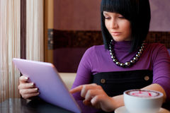 Girl in cafe royalty free stock images