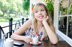 Girl in cafe Stock Photo